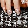 1 hoja ultrafino transparente pegatinas del arte del clavo de encaje blanco 3D manicura de la decoración de acrílico del clavo tatuajes completa Wraps DIY decoraciones