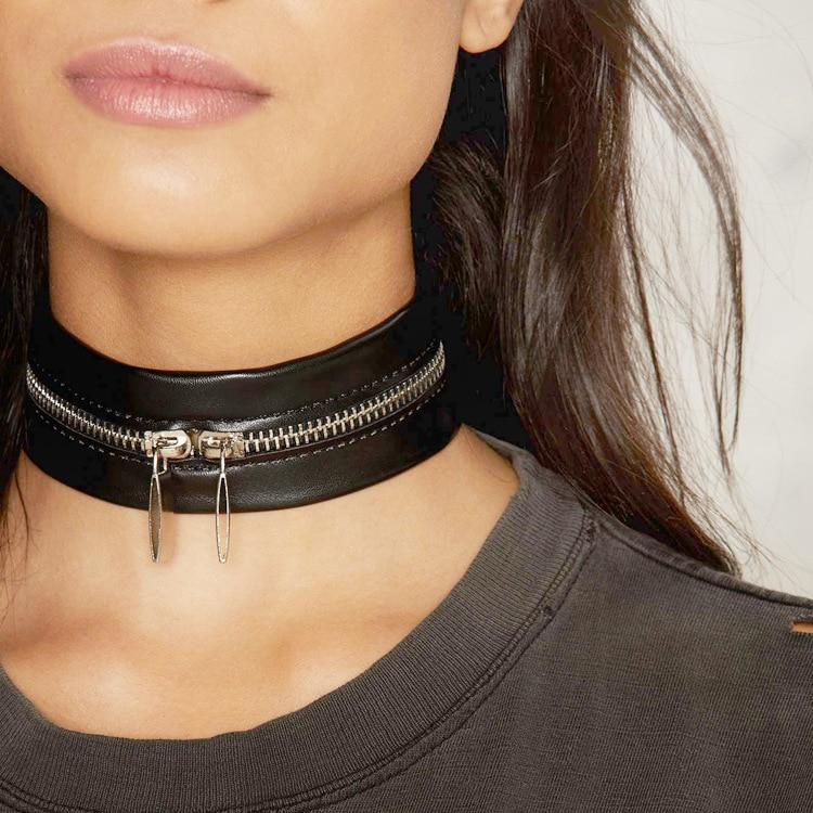Metal Ring Black Choker Necklace