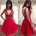 Red Appliques Knee Length Lace Short Homecoming Dresses Backless Rhinestone Prom Dress Cheap Chiffon Cocktail Gowns