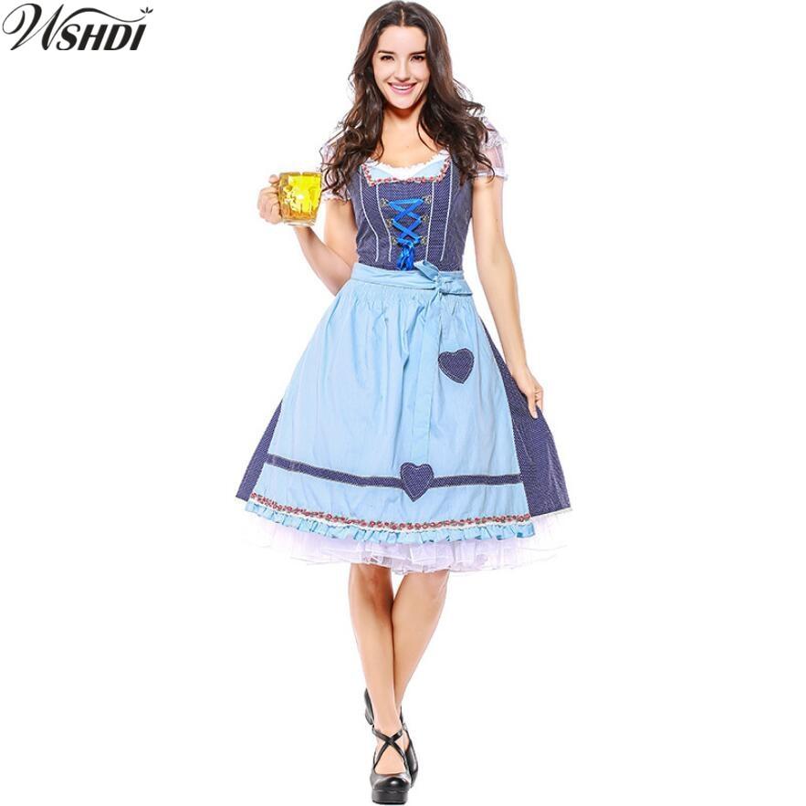 Women Oktoberfest Costume Octoberfest Bavarian Dirndl Maid Peasant Skirt Dress Party Female Oktoberfest Wench Fancy Dress