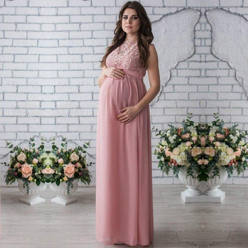 Кружевное платье для беременных длинное платье Для женщин Повседневное с длинными рукавами Открытое платье с круглым вырезом, вечернее дли...