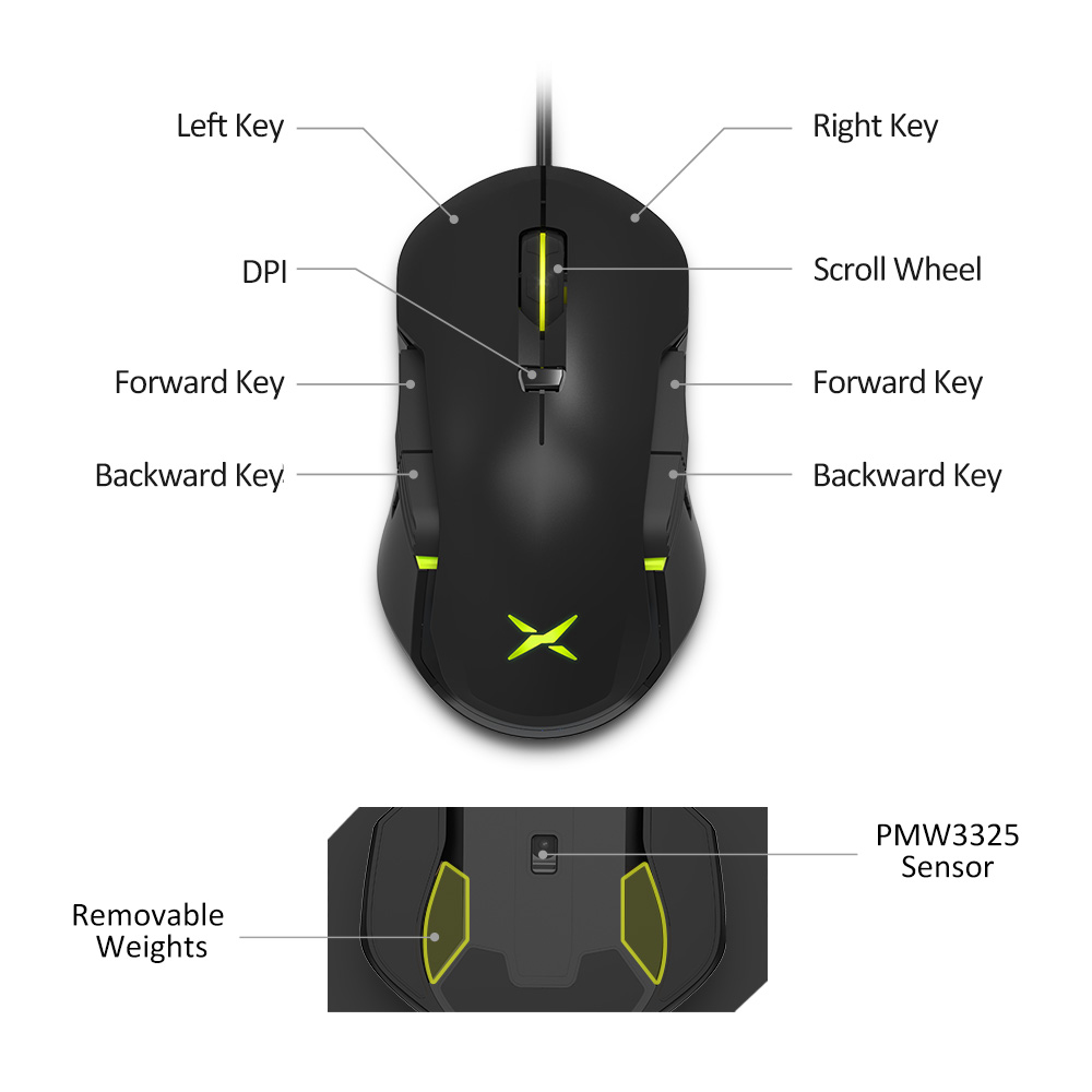 Image 4 - Delux M627S DIY Side Wings Wired Gaming Mouse 8 Buttons 5000 DPI RGB Backlight Optical Left and Right hand Mice For PC Game User-in Mice from Computer & Office