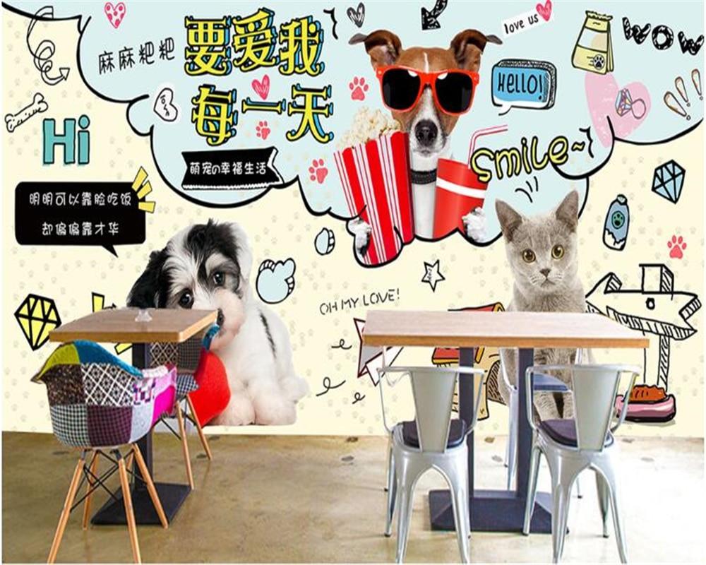 Beibehang Advanced Silk Hand Painted Hospital Clinic Fashion Pet Shop Beauty Salon Wallpaper Background Wall  Papel De Parede
