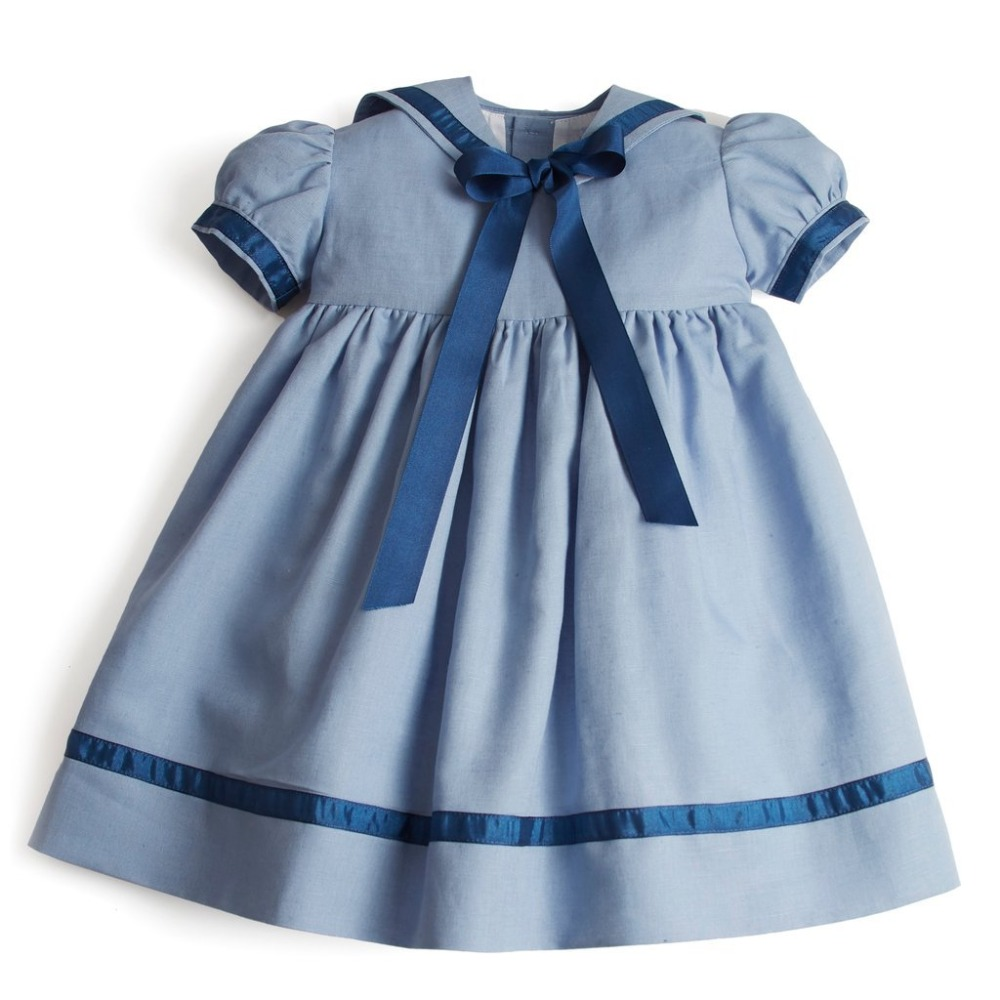 Baby Navy Style Dress Puff Sleeve Bow Blue Color Princess Ruffles Children Fashion Dresses High Quality