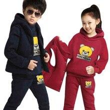 Brand Boy Girls Clothing Boy Thick Hoodies+Pants+Vest 3pcs Set Girls Christmas Outfit Children Winter Set Boy Sweatshirts Suits