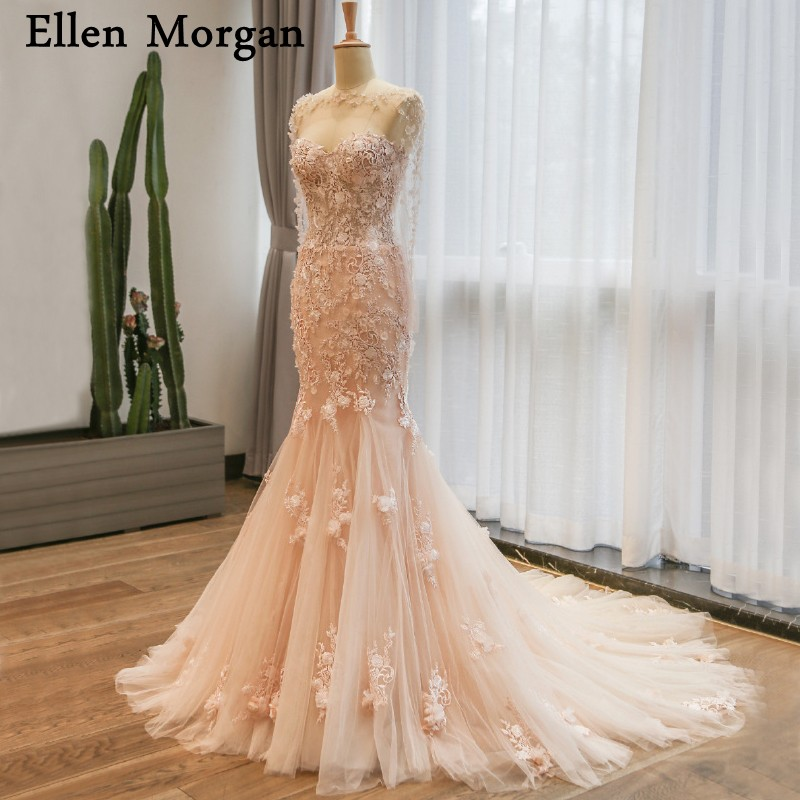Champagne Sexy Mermaid Wedding Dresses 2019 Sexy Sweetheart Neck Court  Train Lace Real Photos Garden Merry 14cdf4208f61