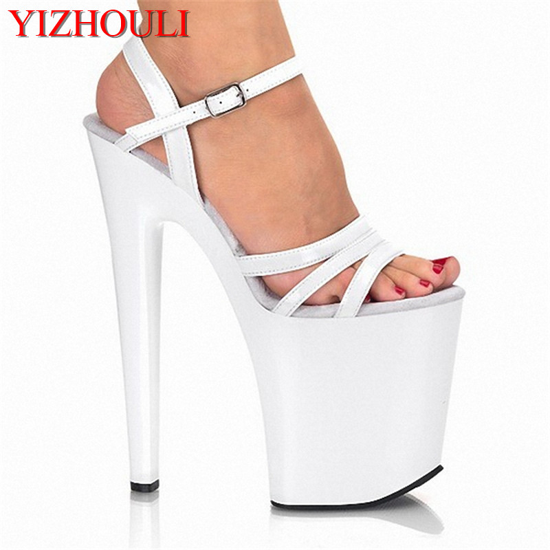 Sexy 20cm brief high-heeled shoes platform open toe sandals the bride wedding shoes Spike Heel Open 8 Inch white Sandals classic black 20cm open toe sandals super high heel platform pole dance shoes gorgeous punk 8 inch sexy rivet cover heel sandals