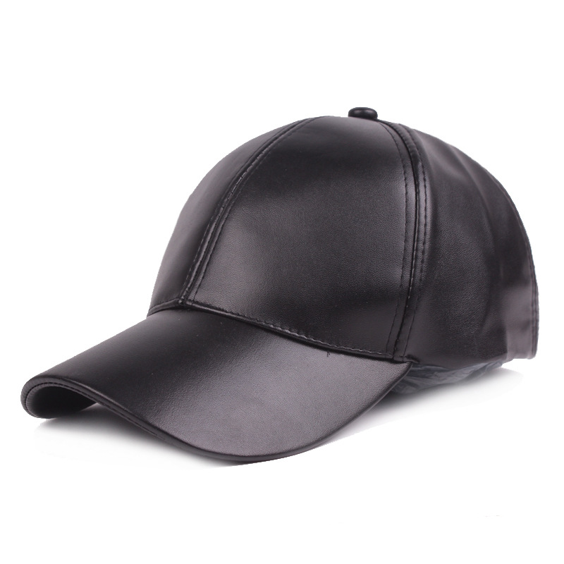 2018 New Spring and Autumn Hats with Ear Flaps Men's PU Leather Baseball Caps Men High Quality