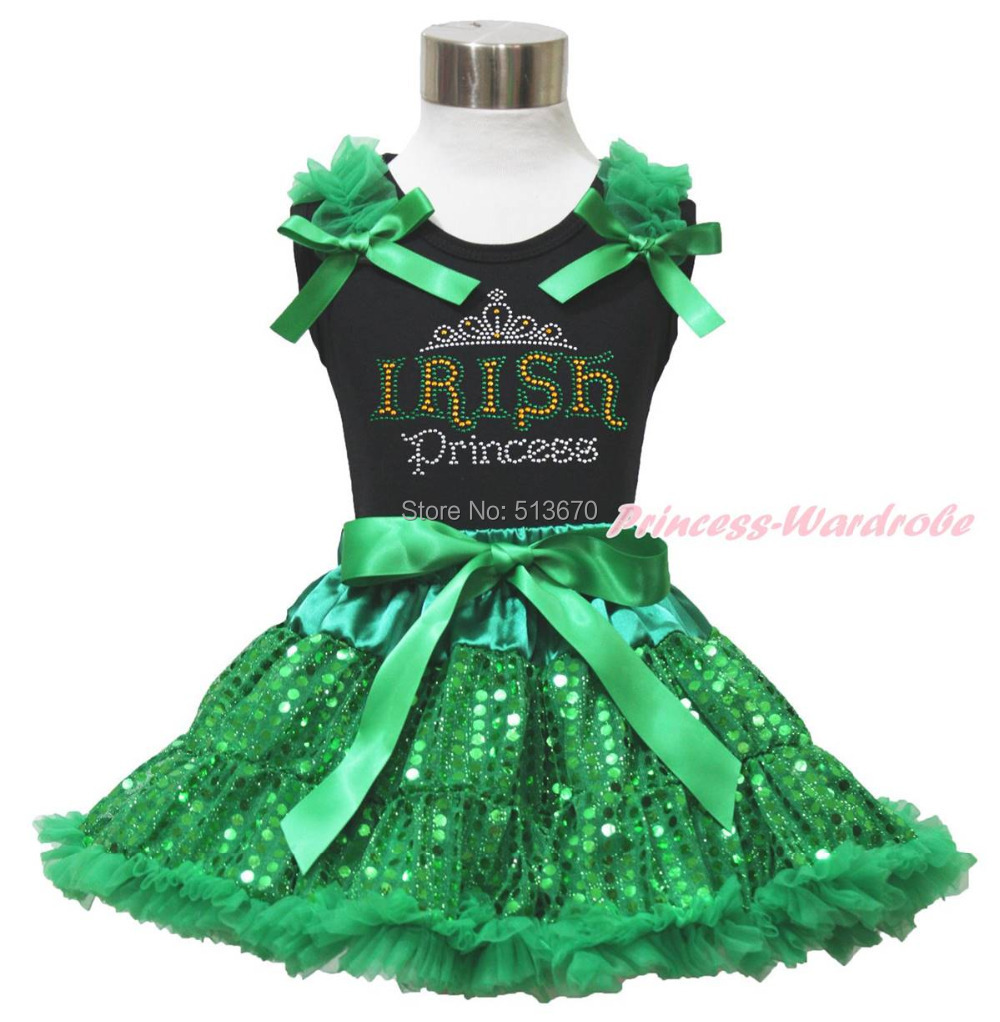 St Patrick Day Rhinestone Irish Princess Black Top Bling Green Sequin Skirt 1-8Y MAPSA0439 white top my 2nd st patrick day clover green bling sequins girls skirt set 1 8y
