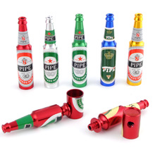 New Design Mini Beer Smoking Metal Herb Tobacco Pipes Portable Creative Gifts 5 Random Colors Tube Pipes Accessories 48 pcs lot small metal tobacco pipes beer bottles smoking pipe herb filter metal tube random color