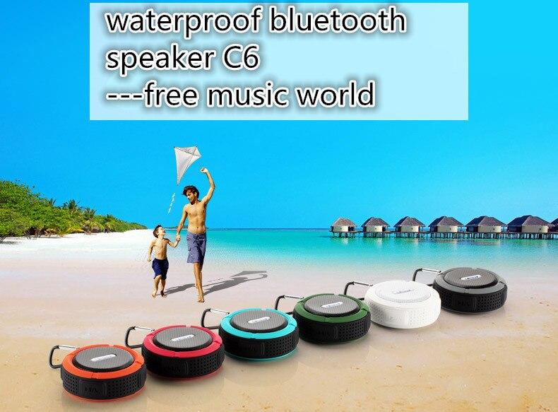 10Pcs/Lot C6 Wireless Bluetooth Speaker Waterproof Mini Speaker Shower Music Suction Cup Handsfree Sound Box For Iphone Xiaomi