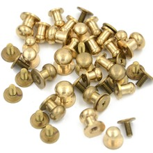 10pcs Mix Style Stud Screw Round Head Solid Brass Nail Rivet Chicago Button DIY Leather