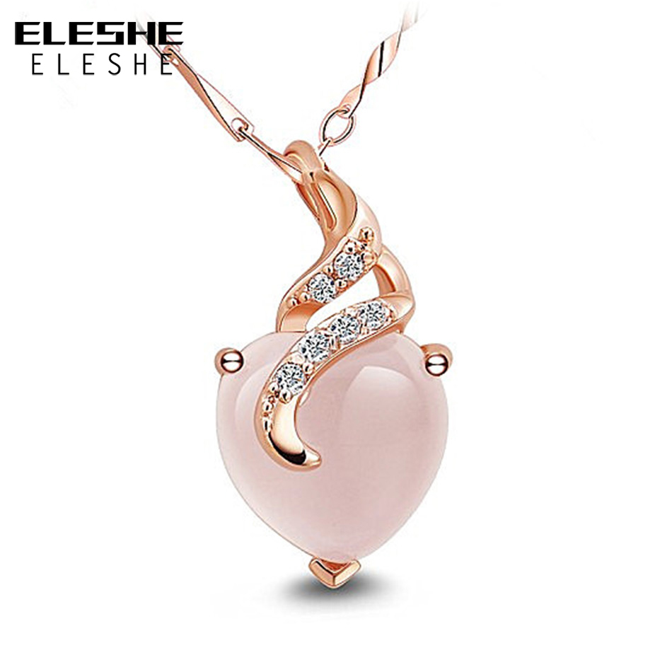 ELESHE Natural Stone Opal Heart Necklace &Pendant Cubic Zirconia Rose Gold Color Necklace Fashion Jewelry For Women Girls Gift yoursfs fashion jewelry women s necklace with heart pendant white gold plated crystal engraved mom for women gift
