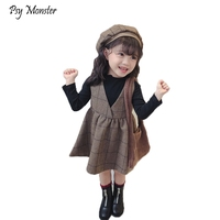 3pcs Children's Autumn Winter Clothing Sets Girls Plus Velvet Thickening Clohtes Set Kids T shirts Skirts Hat Outfits