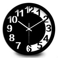 Творческий черный и белый шоколад металлические настенные часы гостиная студентов simlpe арабскими цифрами большой немой Часы и часы