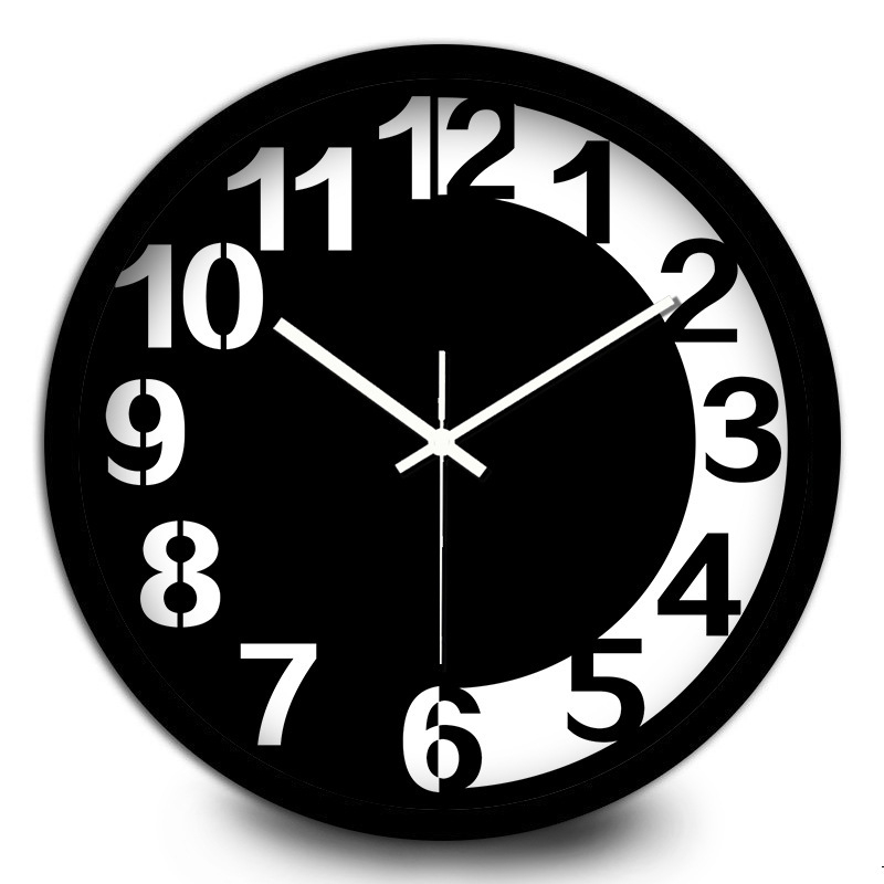 Creative Black And White Chocolate Metal Wall Clock Living Room Students Simlpe Arabic Numerals