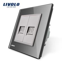 Производство Livolo, серый хрусталь Панель, 2 банды компьютер socket/розетка VL-C792C-15