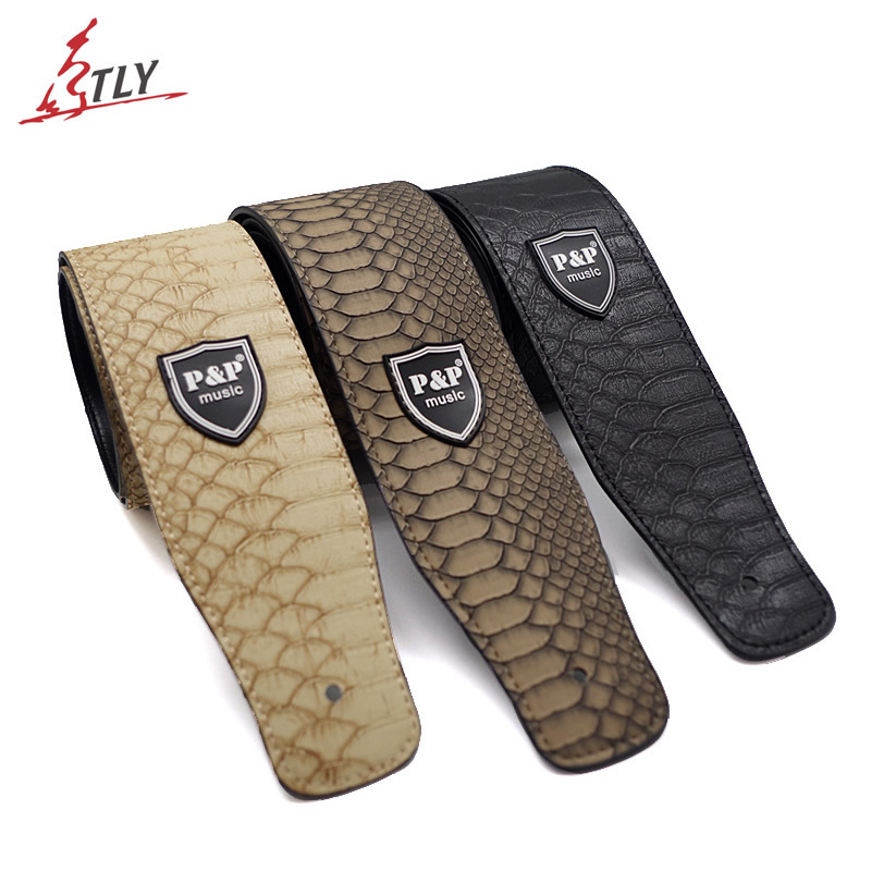 Classic Electric Acoustic Bass Guitar Strap PU Leather With Snakeskin Pattern 160cm 2.5