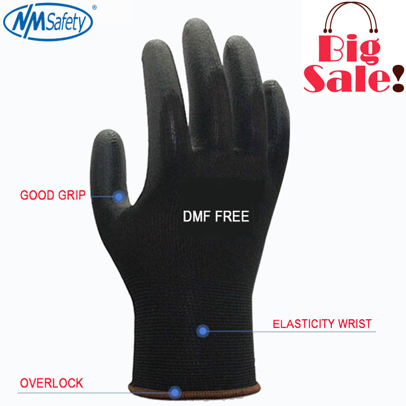 NMSAFETY 12 pairs Working Protective Gloves Men Flexible Blue Polyester Nylon Safety Work Gloves nmsafety fashion high quality work safety gloves protective gloves rubber good grip work gloves