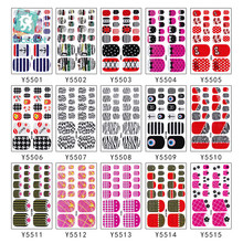 Wholesale Y55 10PCS Nail Stickers Fashion Toe Nail Wraps Nail Art Full Cover Adhesive Foil Stickers Manicure Decals 2019 10pcs brand nail stickers linear flower pattern nail art decorations slider for nail manicure adhesive diy decals foil nail art