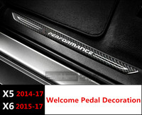 Car Styling Carbon Fiber Middle Threshold Strips Decoration Car Door Welcome Pedal Trim Decals For BMW