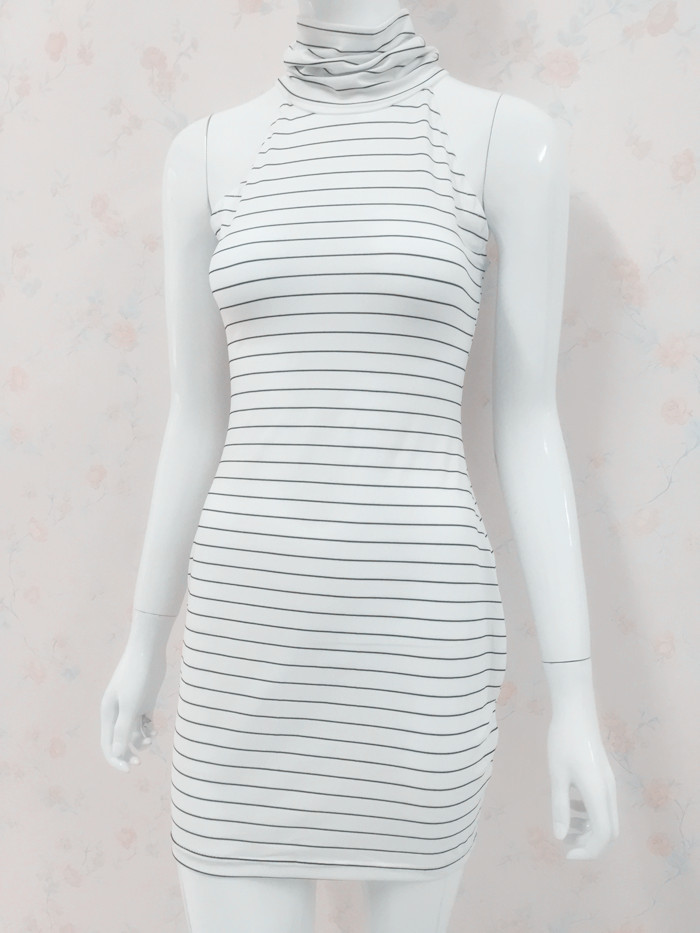 6c25e87e19f JOGTUME Summer Women Sexy Off Shoulder Stripe Pencil Slim Dress Sleeveless  White Black High Neck Fashion Casual Dresses Hot Sale-in Dresses from  Women s ...