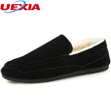 UEXIA Suede Leather Warm Winter Shoes Men Loafers Plush Fur Casual Shoes Men With Fur Moccasins Male Driving Shoes Zapatillas