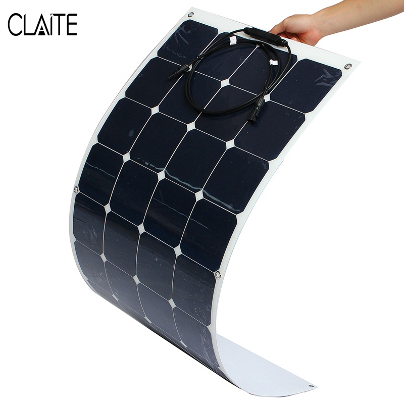 CLAITE 110W 12V Solar Panel DIY Battery System Sunpower Solar Cells charger For RV Boat Car With 1.5m Cable 1180mmx540mm tuv portable solar panel 12v 50w solar battery charger car caravan camping solar light lamp phone charger factory price