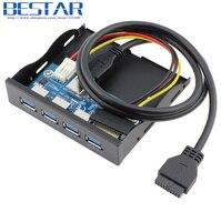 Cho PC Internal 3.5 '' Ổ Đĩa Mềm BaySuper Tốc Độ 5 Gbps19 + 1Pin 20 Pin 4 Port USB 3.0 Bảng Điều Khiển Phía Trước USB Hub Combo Bracket Adapter