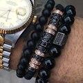 2016 Brand Men Bracelets Bangles,24k Gold Plated 7mm Micro Pave Black CZ Beads Braiding Macrame Men Bracelets,Valentine's Gift