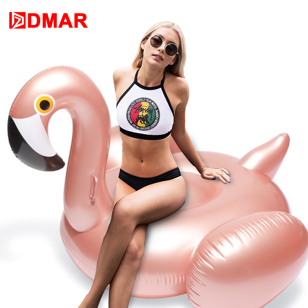 DMAR 150cm 59inch Inflatable Flamingo Rose Gold Giant Pool Float Toys Swimming Ring Circle Sea Mattress Beach Party Unicorn 5m giant inflatable unicorn rainbow pegasus pool floating swimming circle air mattress water toys for child adult beach party
