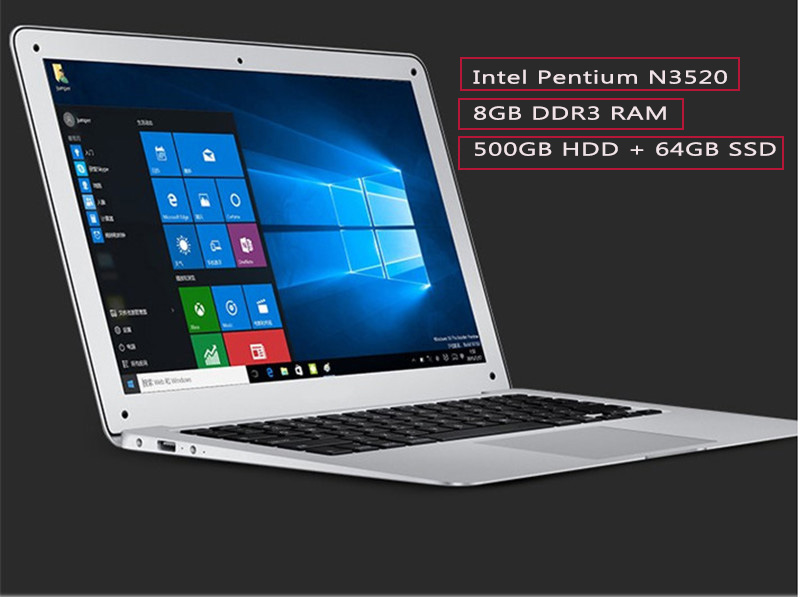 14inch A Portable Laptop PC 8GB/4G Ram+64GB SSD+500GB HDD Quad Core Pentium Windows 10 Computer