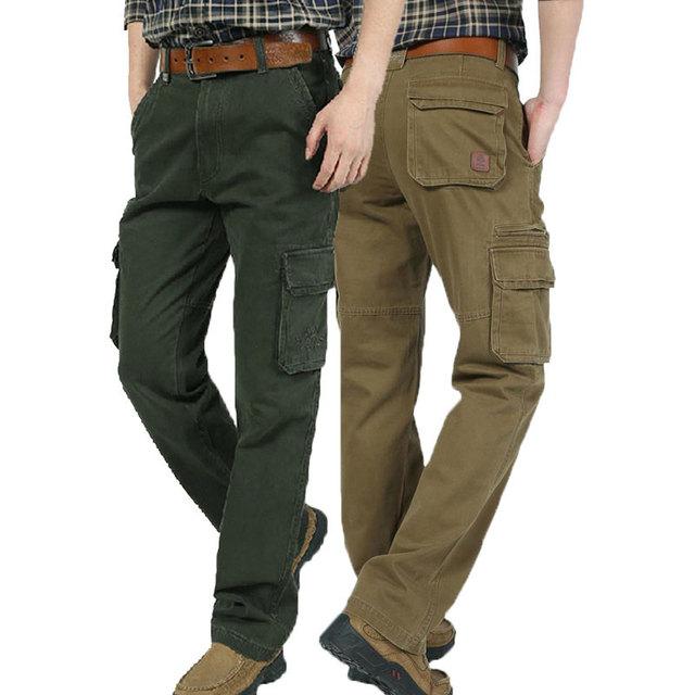 2017 hombres otoño pantalones largos de carga de bolsillo de algodón marca ropa casual de talla grande recta pantalones transpirable pantalones khaki