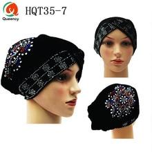 HQT35 нигерийский головной убор с камнями Mutil-color Velvet Tuban cap Головной убор готовая шапка