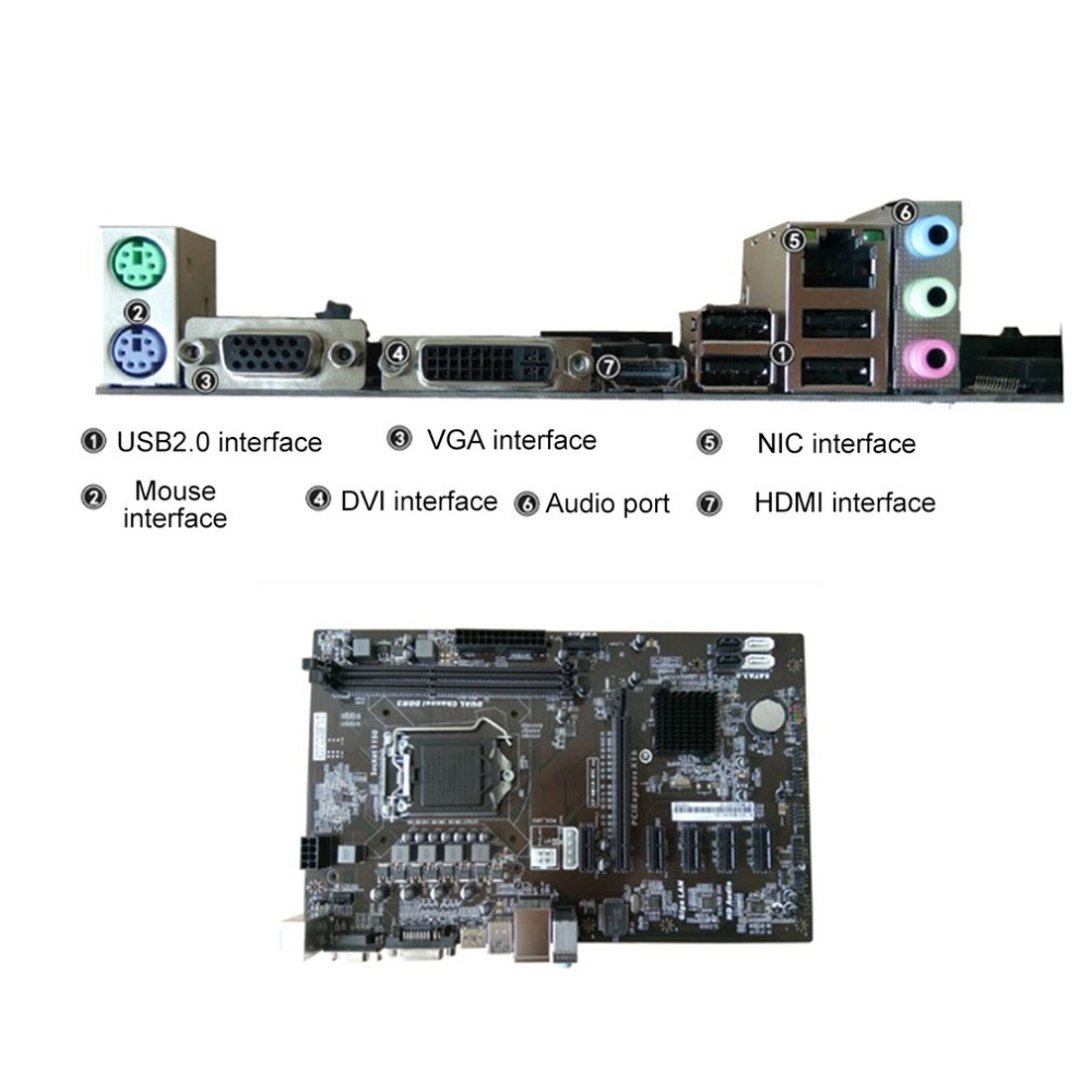 Motherboard H81A-BTC V20 Miner ATX Board LGA1150 Socket Processor H81 Mainboard With CPU Support 6 Graphics Card For Mining remove repair for foxconn cpu seat lga1150 cpu motherboard mainboard soldering bga socket tin balls pc diy 1150 connectors