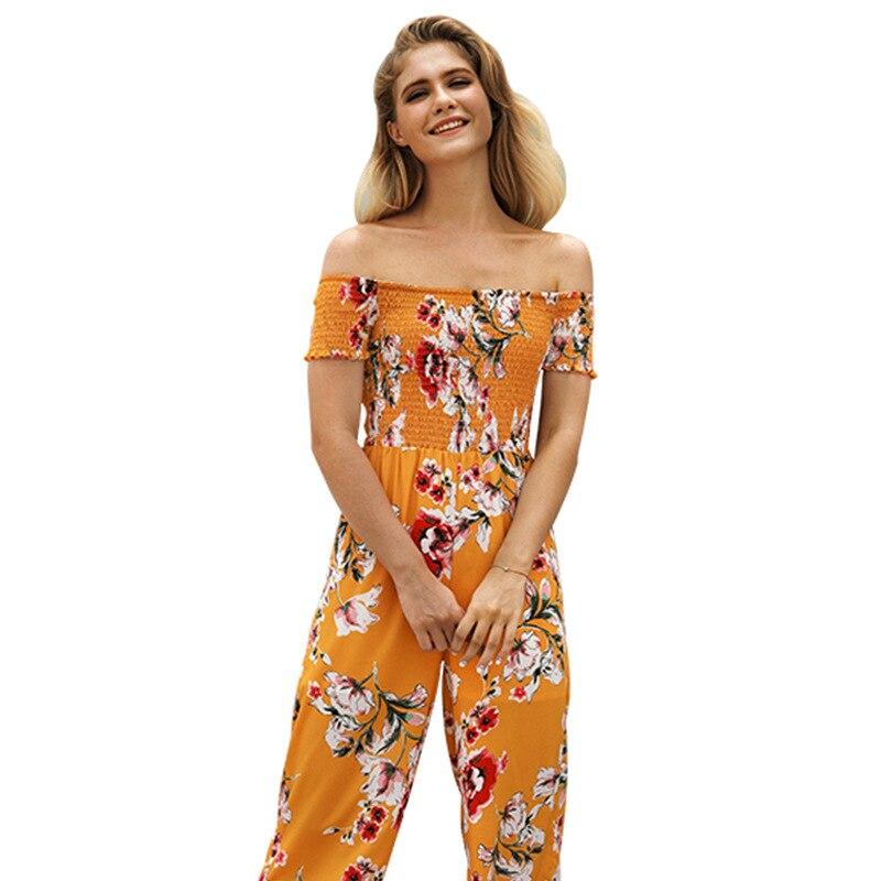 Hot 2018 women's new strapless printed summer high waist jumpsuits