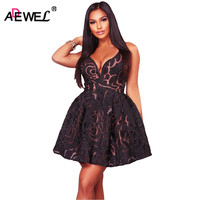 ADEWEL Sexy Deep V Neck Spaghetti Strap Women Lace Dress Elegant Crochet Mini Short Party Dresses