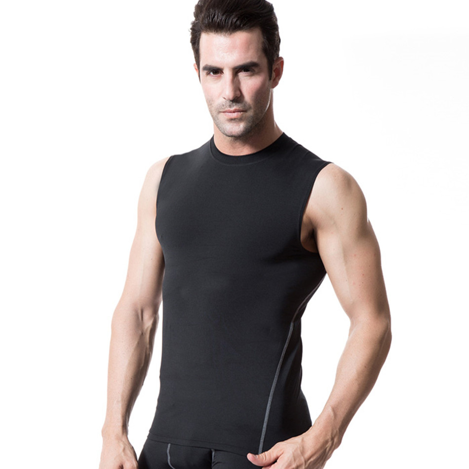 2018 Gym Tank Tops Fitness Sport Tights Tank Top Sport Training Vest Gym Running Compression Sleeveless White Yoga Shirt Men