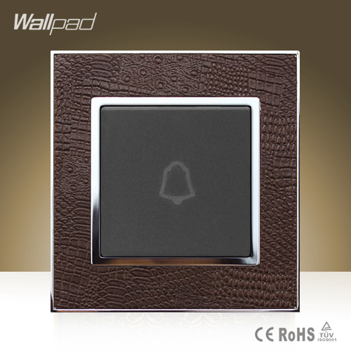Module Wallpad Hotel Square Design Doorbell Goats Brown Leather Frame Wall Mount Reset Push Button Doorbell Switch Free Shipping 1