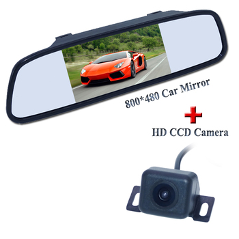"""1 set hd ccd car reverse camera shockproof +5"""" car rear mirror adapt for Land Rover for Mitsubishi for Lamborghini and so on"""
