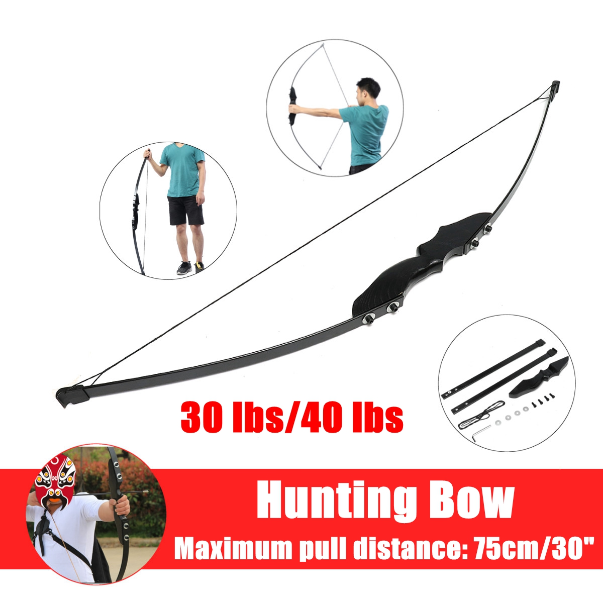 New taken down bow 30/40lbs Recurve Bow for Right Handed Archery Bow Shooting Hunting Game Outdoor Sports 30 40 lbs straight bow length 50 inches for right handed archery bow shooting hunting game outdoor sports