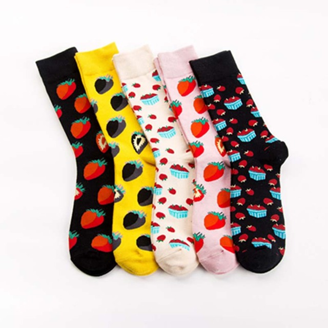 [COSPLACOOL]Cute Fruit Wedding Funny Men Socks Strawberry Happy Socks Unisex Harajuku Skateboard Chaussette Homme Divertidos Sox