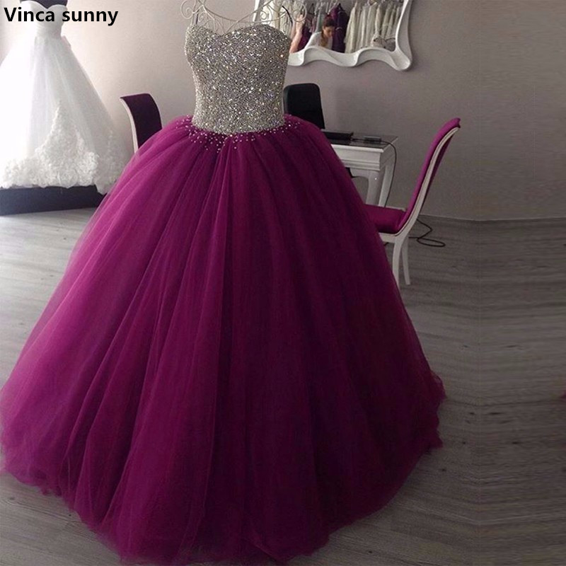 Vinca sunny Sparkly Sweetheart Beaded Ball Gown Prom Dresses Real Picture Tulle Floor Length Sleeveless Puffy Long Prom Dress