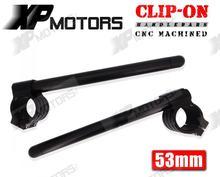 53mm Black Clip-On ClipOns Handlebars 7/8″ Universal Fit For 53mm Front Forks Black