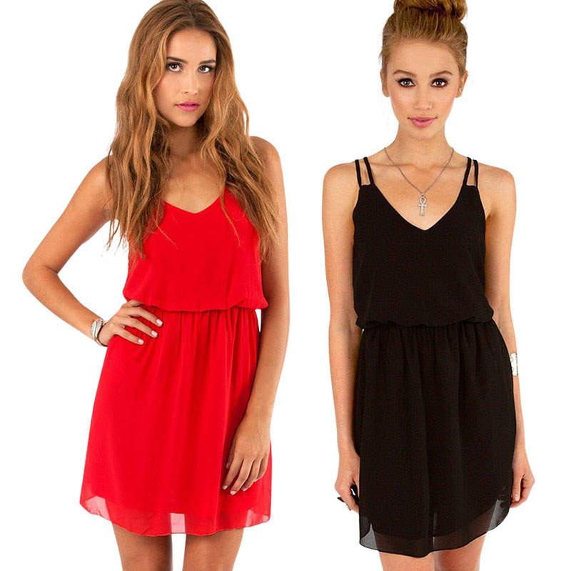 new summer style chiffion party dress women casual v ne