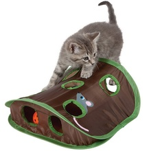 Educational 9 Holes Tunnel Cats Toys Interactive Hide Seek Game Mouse Hunt Intelligence Toy Pet Hidden Hole Foldable Toy for Cat fluffy toy hidden cat hide and seek game baby animated stuffed elephant dolls m15