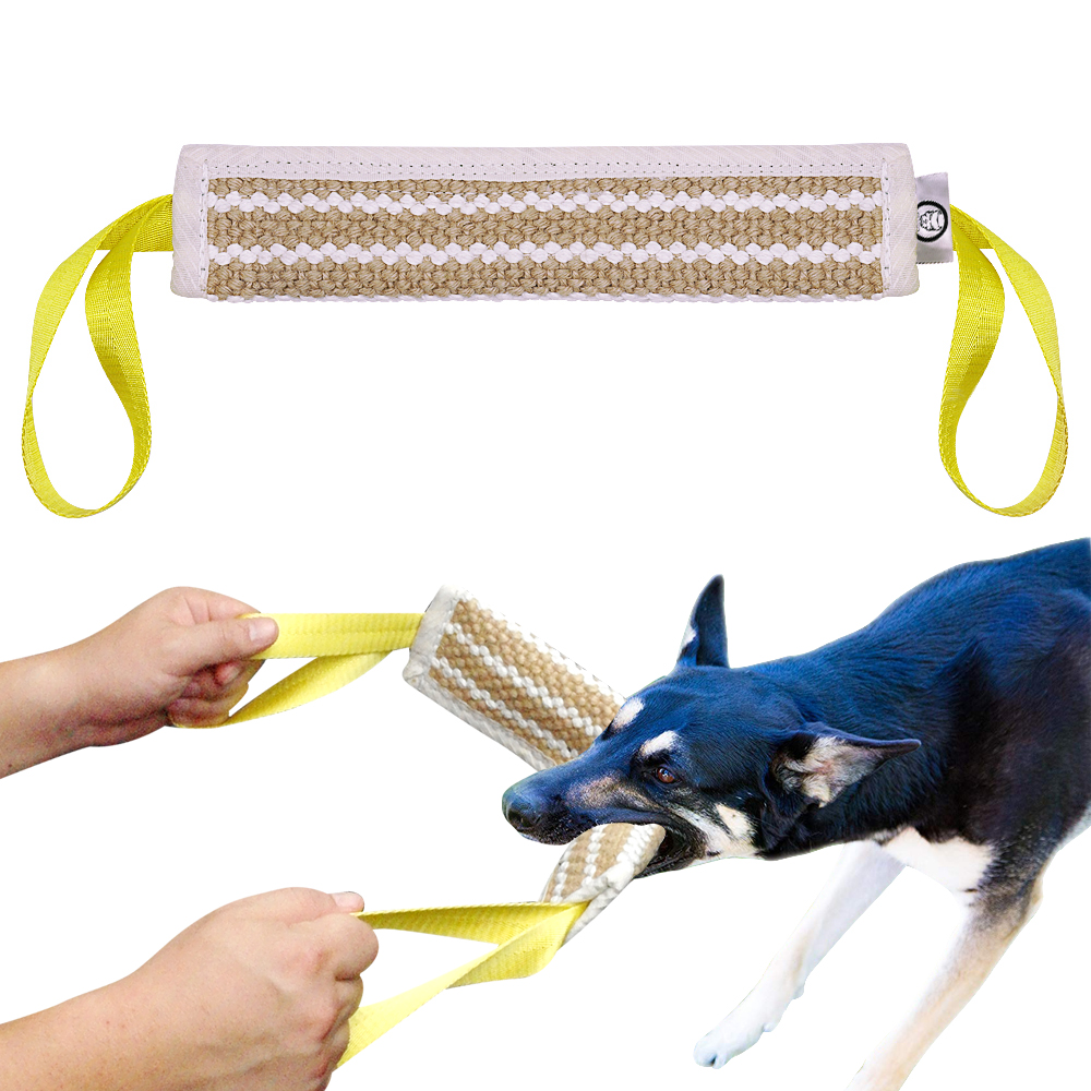 Dog Training Tug Toys: Dog Bite Tug Toy 2 Handle Jute Dogs Training Playing Toys