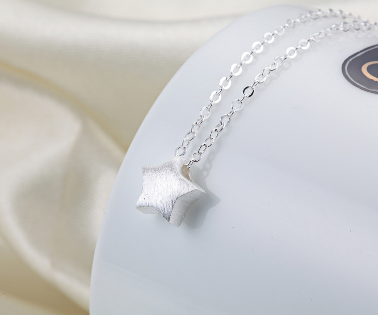 Silver Necklace Brushed Five pointed Star Set Chain Fashion Simple Pendant Clavicle Chain MJB02