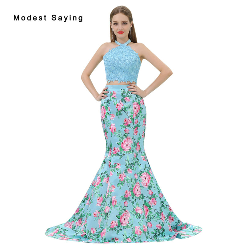 Elegant Light Blue Mermaid Floral Printed 2 Piece Beaded Lace Prom
