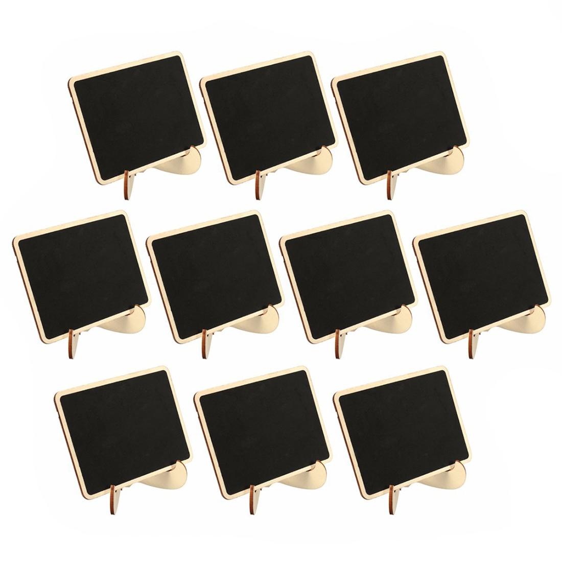 10x Mini Houten Schoolbord Schoolbord Bericht Bruiloft Labels Tafel Decor, zwart + hout kleur